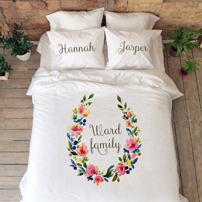 Hochzeitsgeschenk Floral Bettwäsche Namen Set Personalisierte Etsy