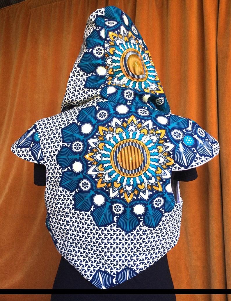 1e3473bd34d Hooded Pixie Waistcoat // Geometric Pattern // African Print | Etsy