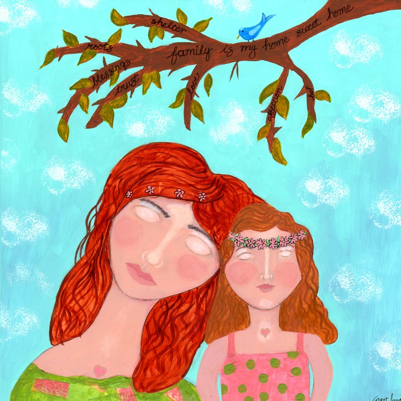 daughter family original painting Family is My Home Sweet Home family tree mother