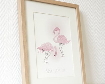 FLAMINGO Poster sexy flambitch border pink luxe US LETTER