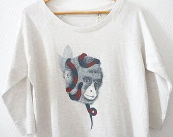 Sweat-shirt women monkey snake digital printing light grey art graphism tencel cotton