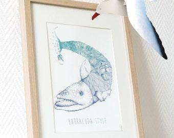Barracuda style fish boat sea Poster graphism art cute men girl fresh US LETTER