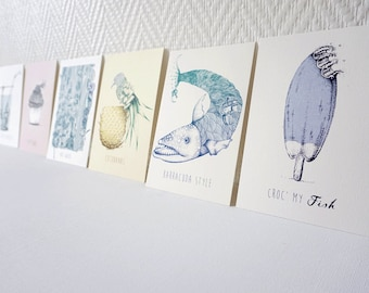 Pack of 7 postcards funny - Choice animals - funny - cute colored - decoration - gift