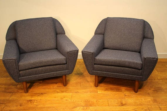 A Pair Of Upholstered Vintage Armchairs Etsy