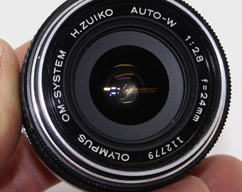 Olympus H. Zuiko Auto-W 24mm f/2.8 Lens with case and lens filter OM-System – Very good condition and tested