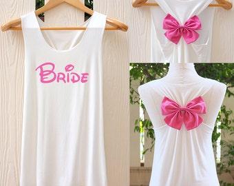 BRIDE Bow Tank Top. Racerback bow. Bride shirt. Tank Top. Bridal Tank Top. Bachelorette Party Tank Tops. Bridal shirt. Bridal party. Bride