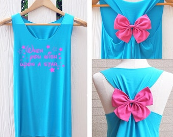 When you wish upon a star bow Tank Top. Racerback bow. Disney shirt. Tank Top. Disney Tank Top. Bachelorette Party Tank Top. Cinderella tank