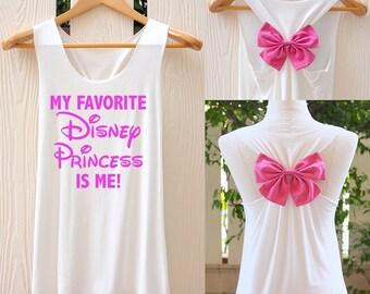 My favorite Disney Princess is me! bow Tank Top. Racerback bow. Disney shirt. Work out tank top. Disneyworld shirt. Disneyland tank top. Bow