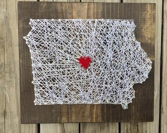 State String Art Sign, State Outilne, Going Away Gift, Wood State Art, Iowa Sign, Housewarming Sign, State Pride Gift, Wood State Sign