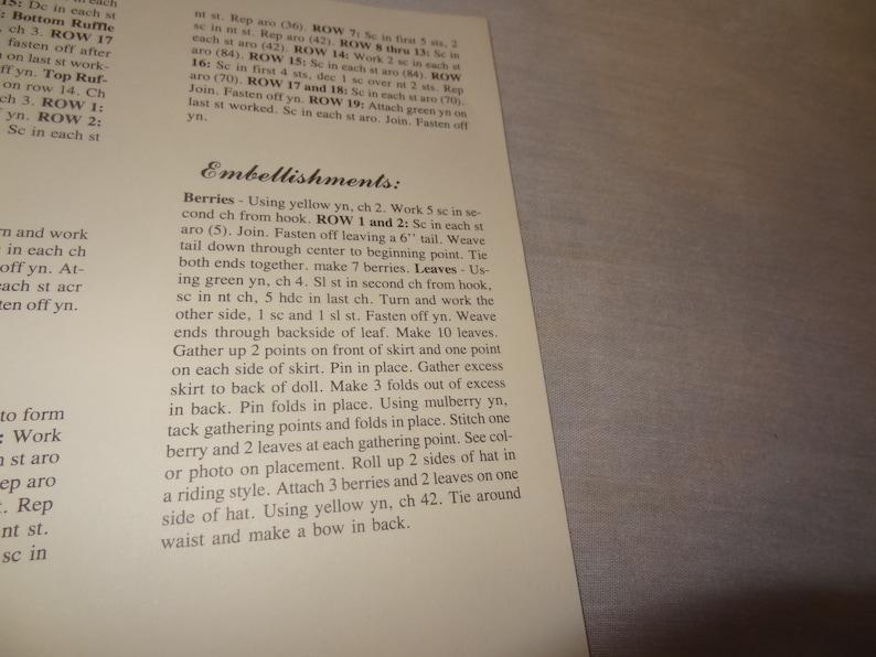 Rachel Bed Doll Pattern Sweet Dreams Dumplin Designs Crochet 1987 BD509 Booklet