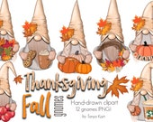 Fall Gnomes Clipart, Nordic Gnomes Clipart, Thanksgiving Gnomes, Whimsical Clipart, Autumn Gnomes, Cute Clipart, Fall Clipart, Gnome PNG