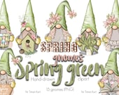 Spring Gnomes, Floral PNG, Green Clip Art, Whimsical Design, Easter Gnome, Spring Illustration, Nordic Gnomes, PNG Gnome, Spring PNG