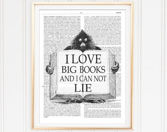 I Love Big Books Reading Quote Printable Art Dictionary Page Art Poster  Inspirational Quote Instant Download Wall Art