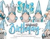 Birthday Gnome, Blue Boys Gnomes, Cute Gnomes, Normand Gnomes, Happy Birthday Art, Birthday Design, Png File, Birthday Clipart,Nordic Gnomes
