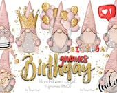 Birthday Clipart, Nordic Gnomes, Planner Icons, Gnomes Stickers, Cute Gnomes, Normand gnomes, Happy Birthday art, Birthday design, Png file