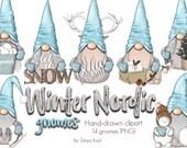 Nordic Gnomes Clipart, Winter Gnomes Clipart, Whimsical Clipart, Winter Gnomes, Cute Clipart, December Clipart, Gnome PNG, Snow Gnomes