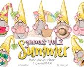 Summer Clip Art, Nordic Gnomes, Png File,Watermelon Gnome,Beach Art, Lemon Gnome, Summer Gnomes, PNG Gnome, Watercolor Clip Art, Cute Gnomes