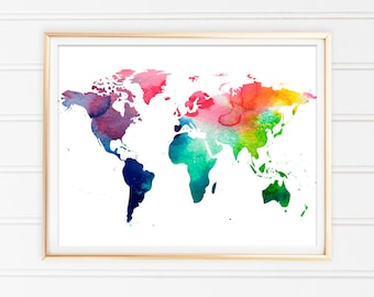 World map download etsy world map watercolor print map art print world map download home decor instant download home living watercolor art printable map gumiabroncs Image collections
