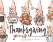 Fall Gnomes Clipart, Gnome PNG, Thanksgiving Gnomes, Whimsical Clipart, Autumn Gnomes, Cute Clipart, Fall Clipart, Nordic Gnomes Clipart