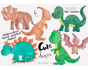 Dinosaur Clipart, Watercolour Clipart, Cute Clipart, Watercolour Dinosaur Clip Art, Commercial Use, Hand-painted Clipart