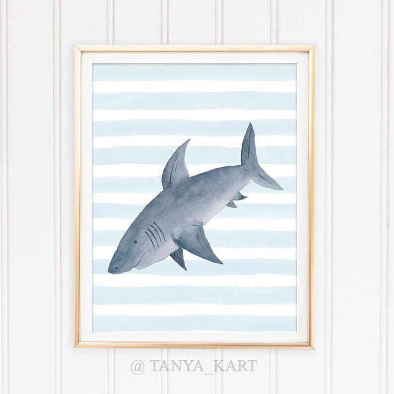 graphic about Shark Printable titled Shark Printable Artwork Print Nursery Print Shark Printable Nursery Printable Watercolor Shark Boys Space Decor Shark Poster Printable Wall Decor