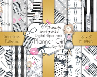 Girly Digital Paper, Planner Girl Digital Paper Pack, Fashion Digital Paper, Planner Cover, Planner Seamless Patterns , Style Paper Pack