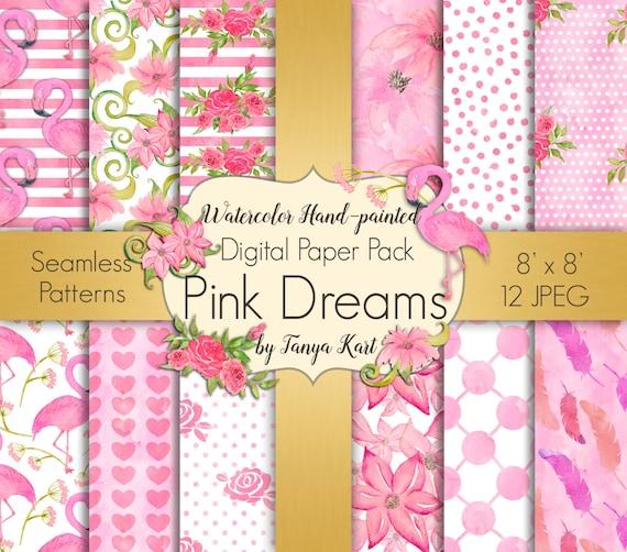 Papier Numerique Vintage Floral De 8 Couleurs Design Fleur Roses