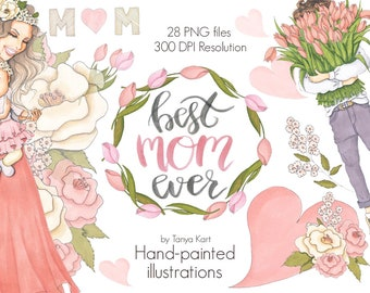 Hand-Painted Clipart, Watercolor Clipart, Mother's Day Clipart, Floral Clipart, Spring Flowers, Pink Flowers, Floral Wreath, Planner Clipart