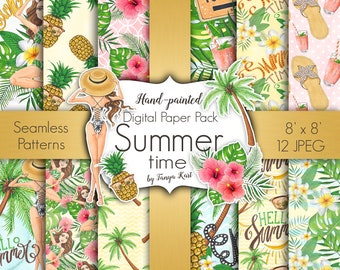 Summer Patterns, Summer Digital Paper, Hawaii  Paper Pack, Aloha Digital Paper, Pineapple Paper, Beach Paper, Tropical Paper Pack, Palm Tree