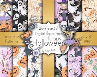 Autumn Digital Paper, Halloween Paper Pack, Witch Papers, Pumpkins Paper, Halloween Autumn Papers, Fall Paper Pack, Halloween Digital Paper