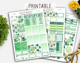 Erin Condren Stickers//March Stickers//Spring Planner Stickers//St.Patrick's Planner Kit/Stickers Vertical Weekly Kit/Printable