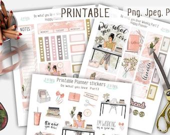 Happy Planner Stickers, Weekly Stickers, Planner Girl, Printable Stickers, Planner Girl, Boss Babe, Planner Stickers, Pink Planner, Fashion