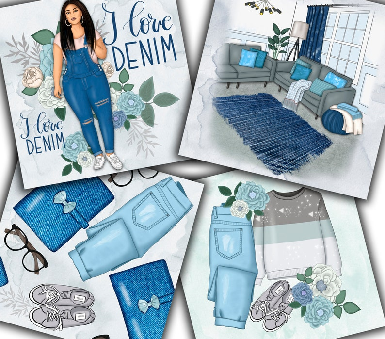 Fashion Patterns Denim Papers Denim Art Girly Papers Flowers Navy Blue Planner Babe Afro Girl Floral Patterns Jeans Papers