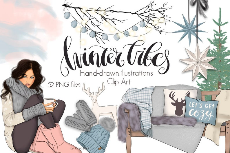 Winter Vibes Clipart Winter Illustrations Planner Stickers image 0