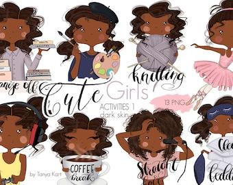 Stickers Girls, Planner Girls Icons, African American Girls, Painter, Knitting, Balerina, Coffee Break Stickers, Gamer Girl, Cute Girl Icons