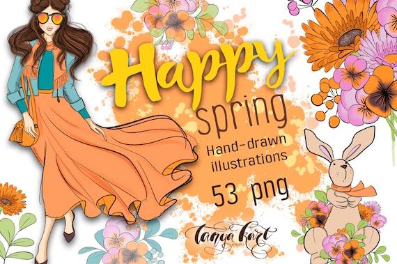 Spring Clipart Spring Flowers Spring Clip Art Easter Etsy