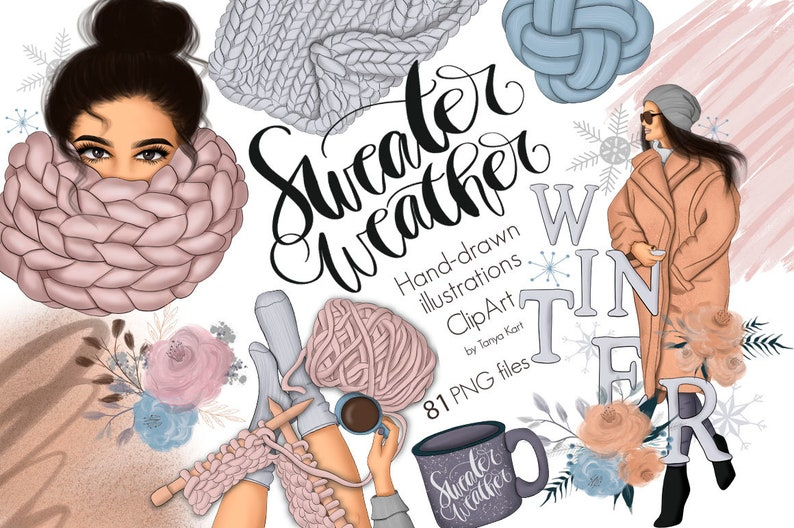 Sweater Weather Clipart-Planner Stickers Diy-January Clip image 0