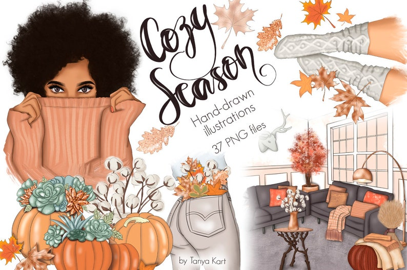 Autumn Stickers Fall Clipart Cozy Season Planner Stickers image 0