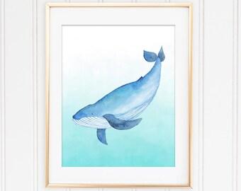 Watercolor Whale, Whale Wall Art, Nautical Wall Poster, Nautical Nursery Wall Poster, Blue Watercolor Whale, Watercolor Sea Animal Digital