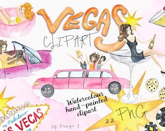 Vegas Clipart, Watercolor Clipart, Hand-Painted Clipart, Casino Clipart, Girly Clipart, Party clipart, Birthday Clipart, Las Vegas Clipart