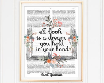 Library Quote, Reading Quote, Neil Gaiman Quote, Dictionary Page Art, Printable Art, Literary Quote, Instant Download, A Book Is A Dream...""