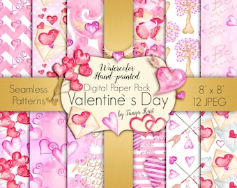 Hearts Digital Paper Pack, Valentine's Digital Paper, Love Digital Paper, Heart Digital Paper, Scrapbook Paper, Pink Digital paper
