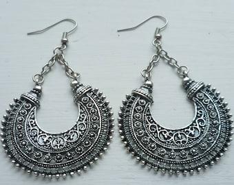 d5e1a8b52 Gypsy earrings,boho jewellery,filigree earrings,tribal jewelry,silver  earrings,gift,handmade,bohemian,festival,dangle earrings,dropper