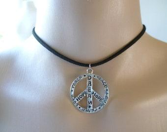 Silver Gold Retro Love Heart Peace Symbol Pendant Braided White Leather Necklace
