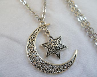 Moon and star necklace,moon necklace,star necklace,moon jewelry,charm necklace,silver pendant,wiccan jewellery,crescent moon,handmade,gift