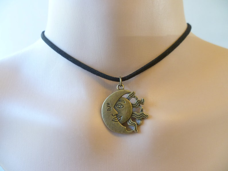 835c9ebb9f230 Sun and moon choker, sun and moon necklace,choker necklace bronze sun,black  choker, wiccan jewelry, pagan, celestial, sun necklace, suede