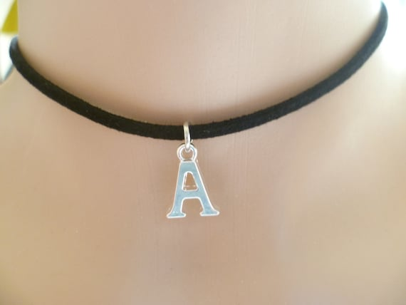 Suede Leather Alphabetic Initial Choker Necklace