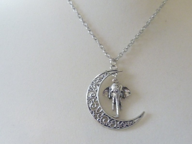 elephant necklace,moon necklace,charm necklace,elephant necklace,moon jewelry,elephant jewelry,silver necklace,wiccan jewelry,gift Moon