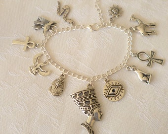 Egyptian bracelet,silver bracelet,charm bracelet,ankh jewellery,egyptian jewelry,goddess jewelry,silver jewelry,handmade,gift,eye,cat,snake