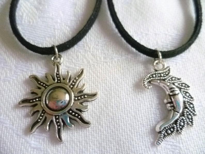 08fbac7aadf8e Sun and moon choker set,black choker,best friends gift,wiccan jewelry,charm  necklace,choker necklace,celestial,sun choker,sun moon jewelry